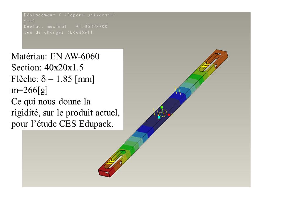 Matériau: EN AW-6060 Section: 40x20x1.5. Flèche:  = 1.85 [mm] m=266[g]